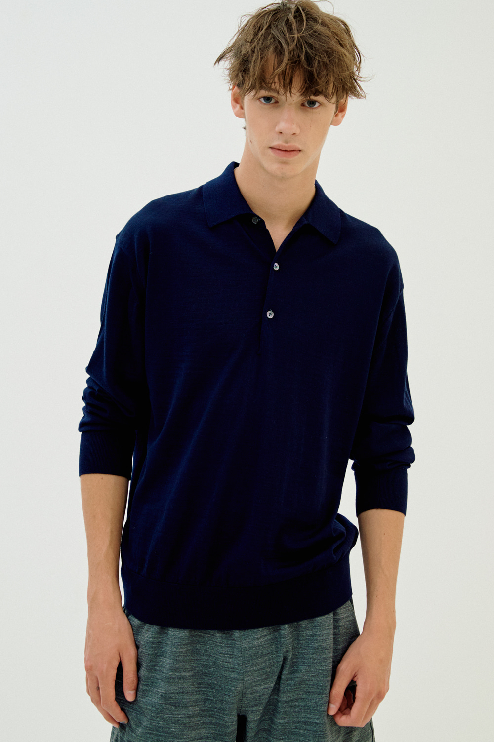 Extrafine Wool Polo _Men (Navy)