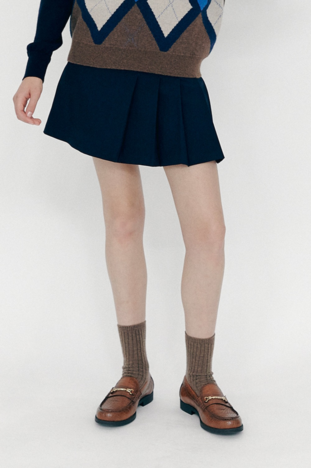 Pocket Pleated Skirt (Navy)
