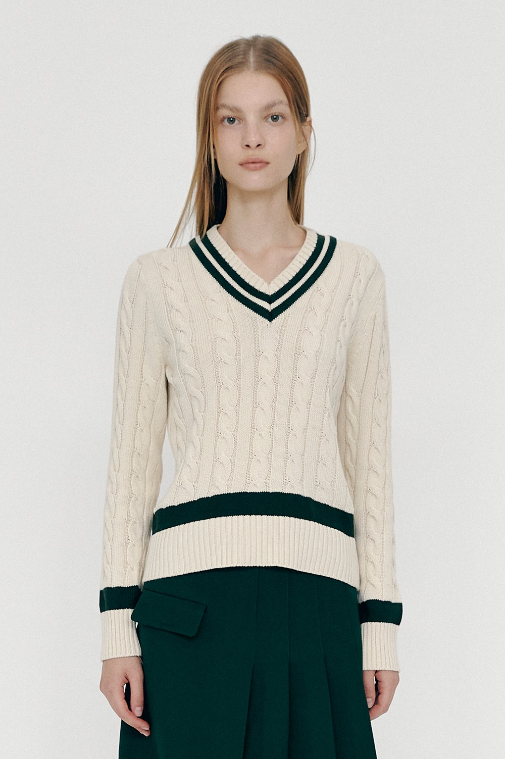 [FW20 CLOVE] Cable V-neck Knit (Ivory)